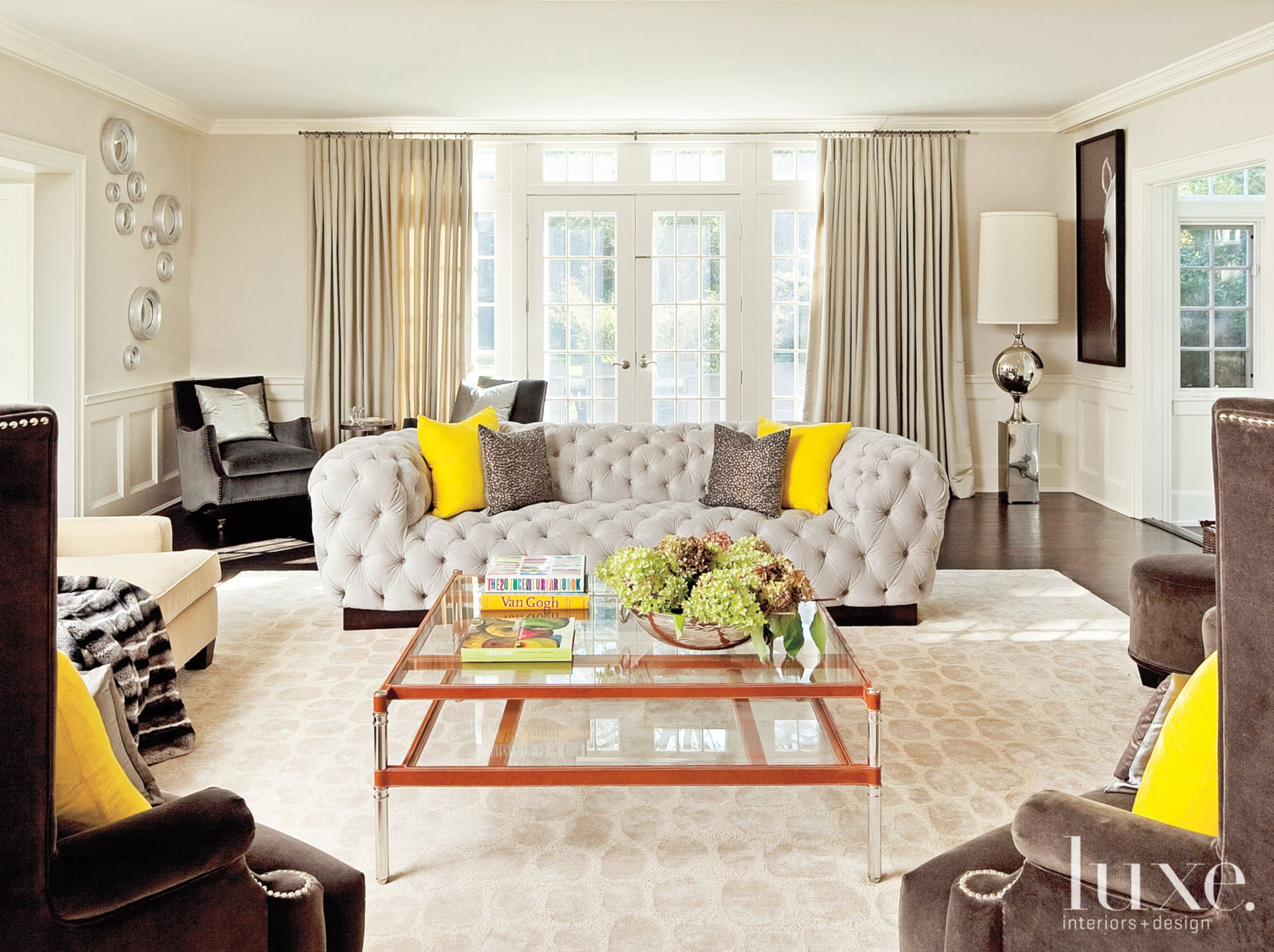 Transitional Neutral Living Room with Yellow Accents