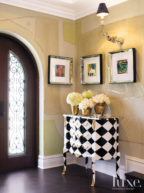 Entry Vignette With Patterned French Cabinet Luxe Interiors Design