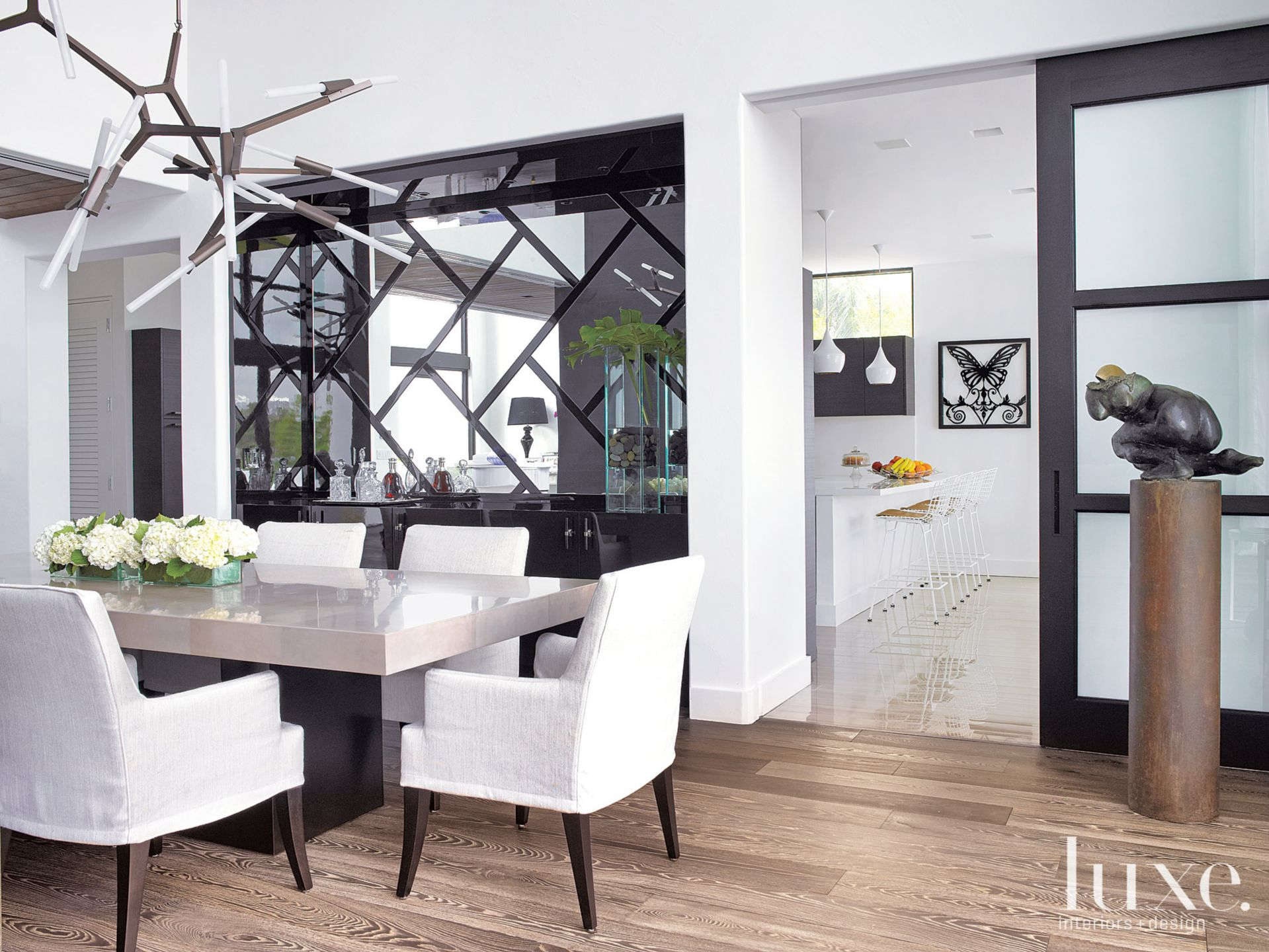 Modern White Kitchen Entry