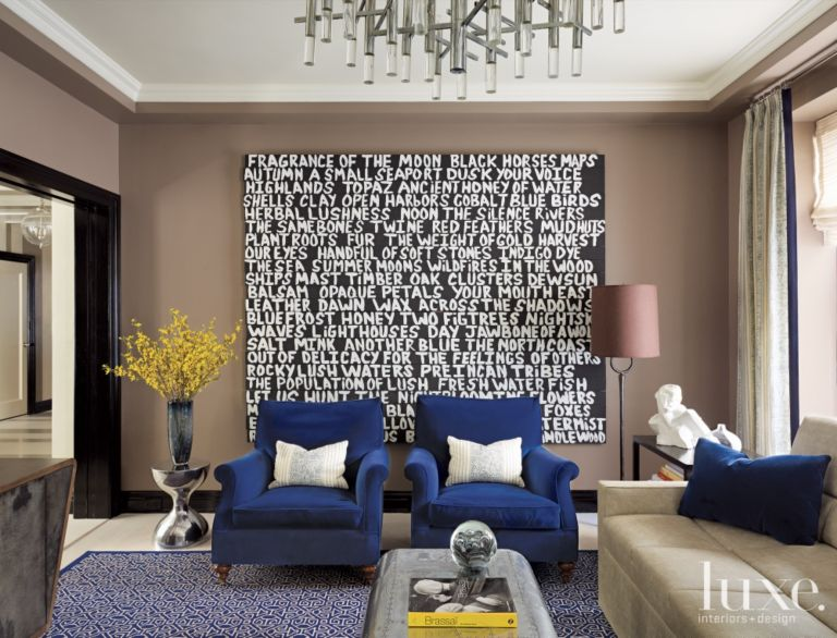 Modern Brown Media Room with Graphic Art - Luxe Interiors + Design