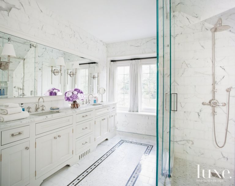 White Marble Master Bathroom with Mosaic Tile Floor Detail - Luxe ...