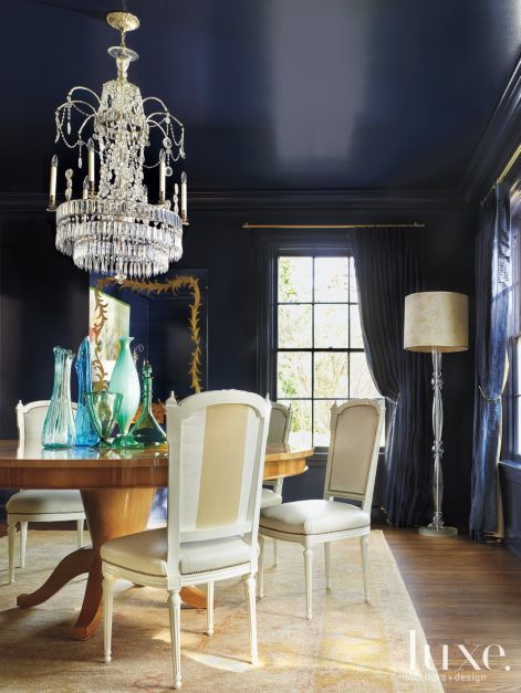 Navy Blue Neo Classical Dining Room Luxe Interiors Design