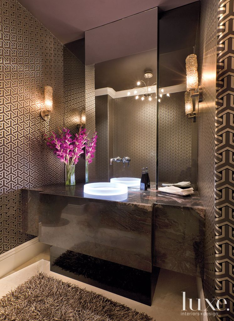Contemporary Brown Powder Room with Smoke-Colored Glass | LuxeSource ...