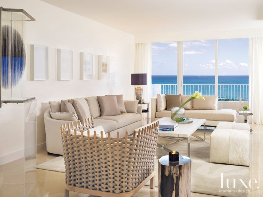 Modern Neutral Living Room With Ocean View Luxe