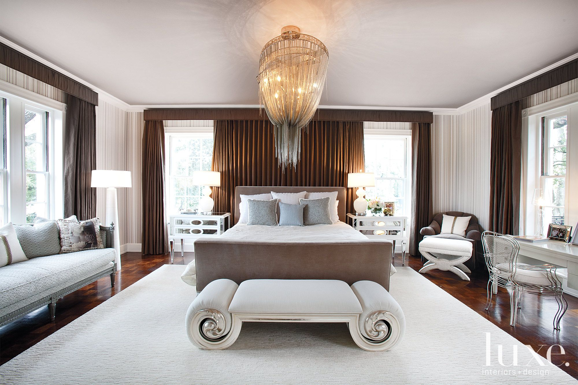 Transitional Brown Master Bedroom