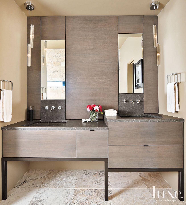 Modern Neutral Bathroom with Varied-Height Vanities