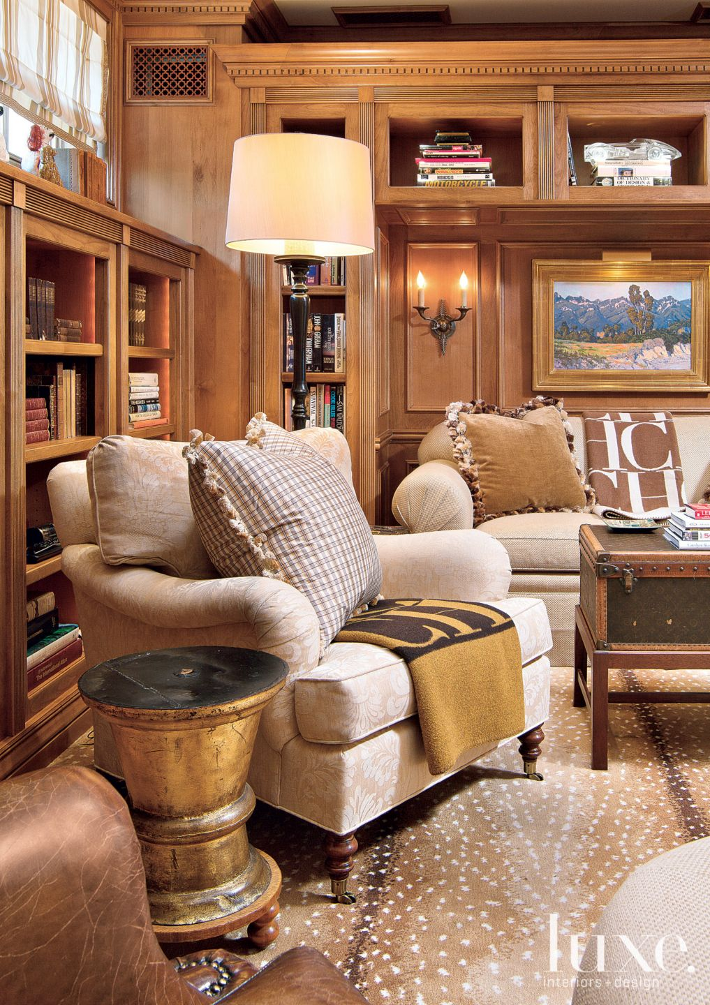 Traditional Wood Paneled Library