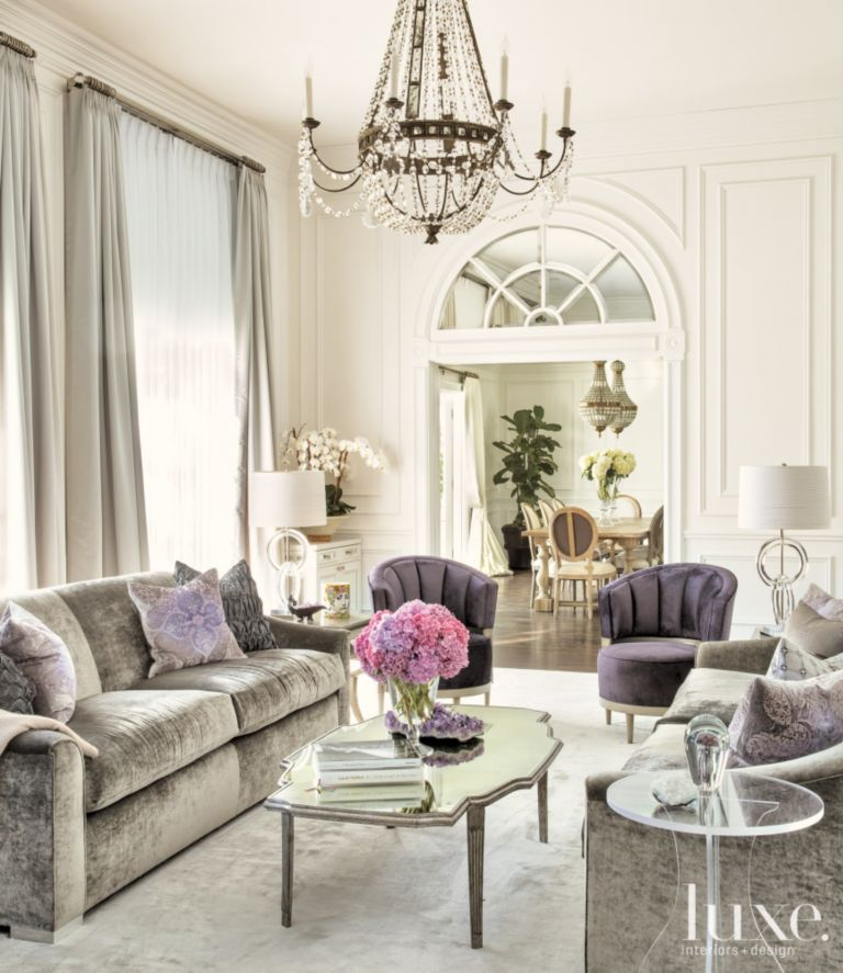 White Transitional Living Room with Purple Accents - Luxe Interiors ...