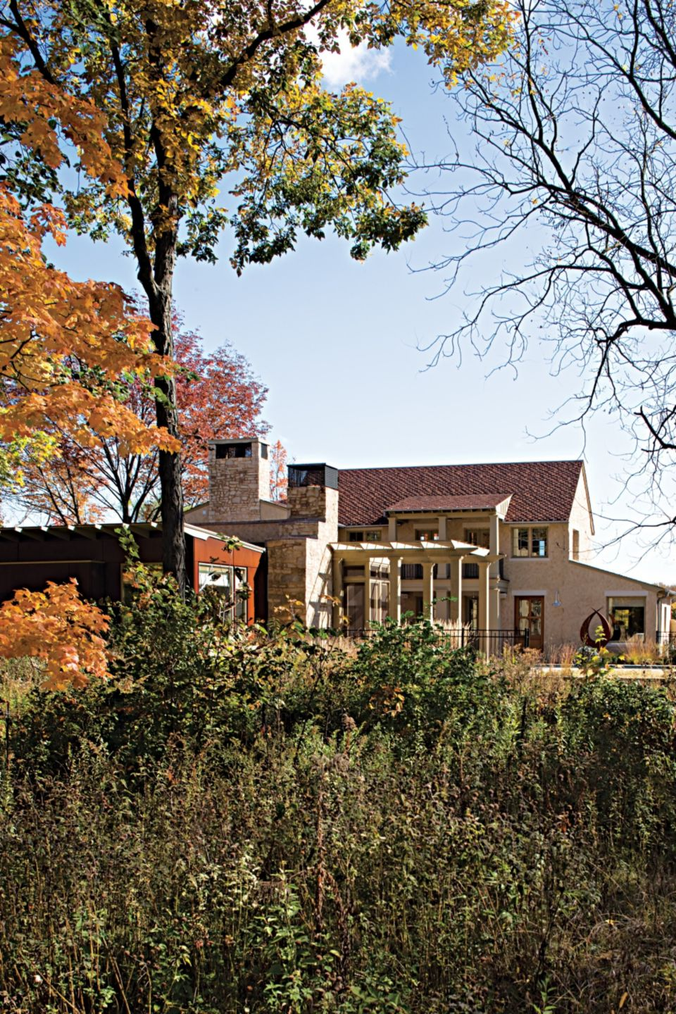 Country Neutral Exterior with Native Grass Landscape