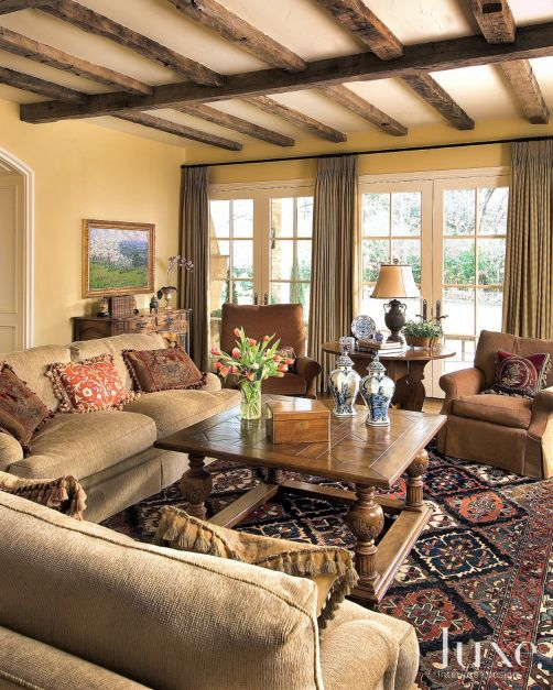 Brown Country French Living Room Luxe Interiors Design
