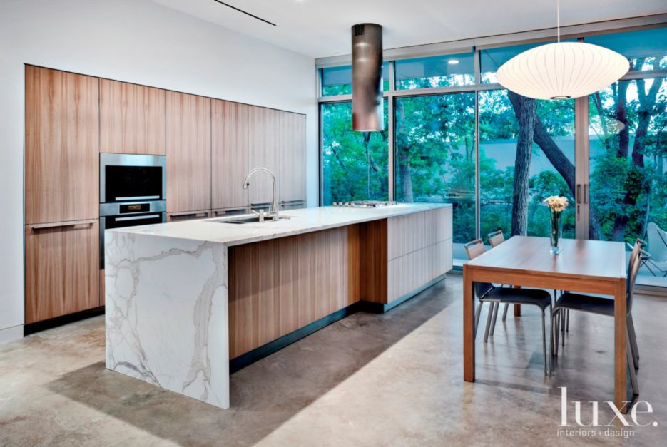 Modern White Kitchen With Elm Cabinetry Luxe Interiors