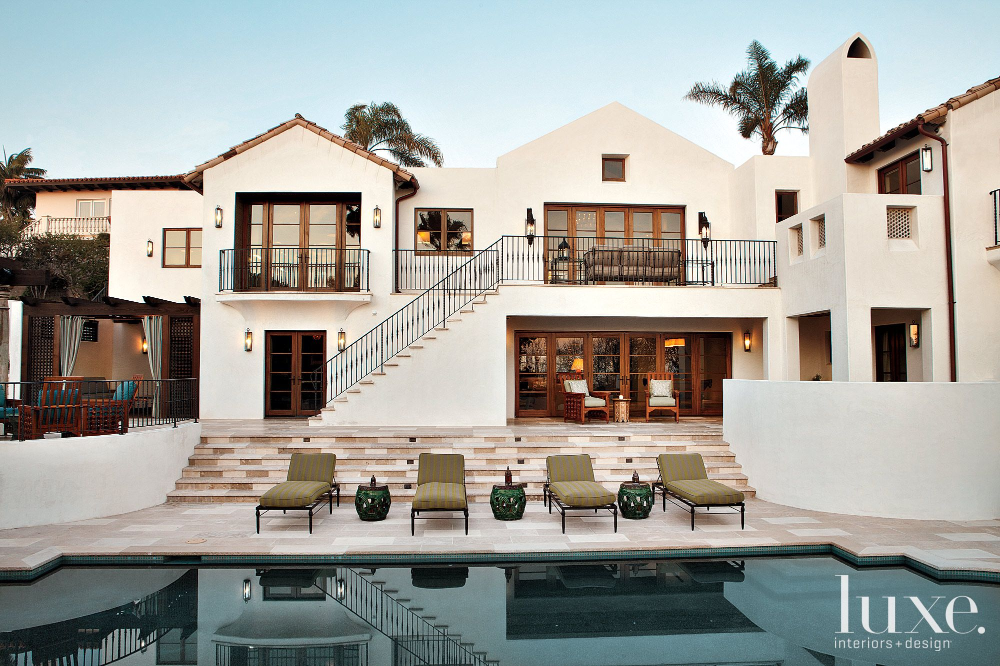 Mediterranean Cream Poolside with Green Accents