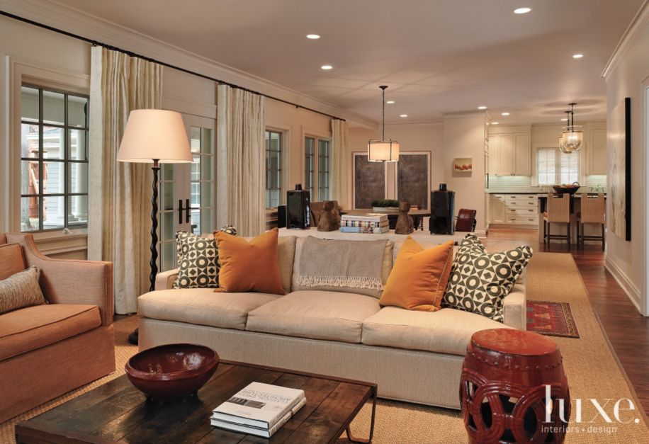 Neutral Transitional Living Room Luxe Interiors Design