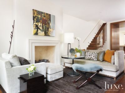 Contemporary White Living Room With Neutral Colored Couch