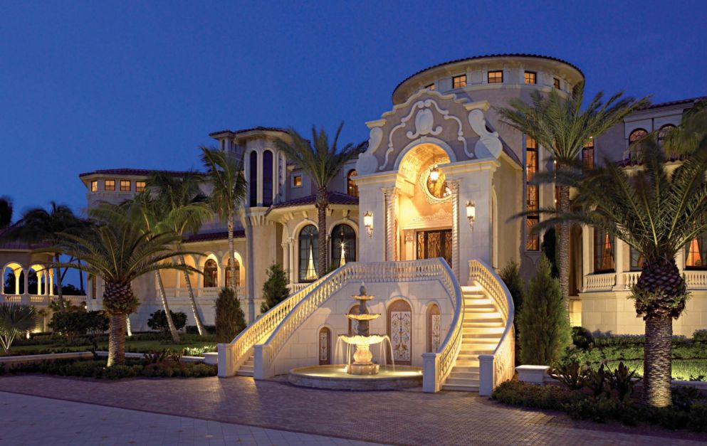 Traditional mediterranean palace style home luxe for Palatial home designs