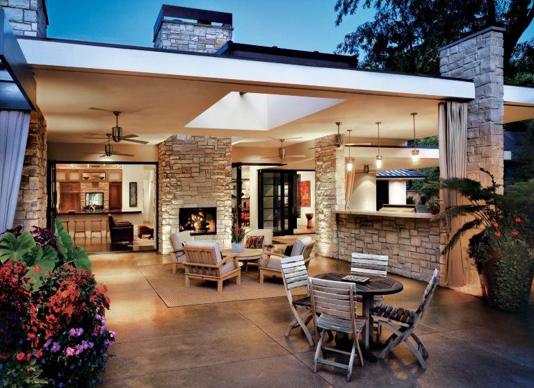 Contemporary Gray Patio Luxe Interiors Design