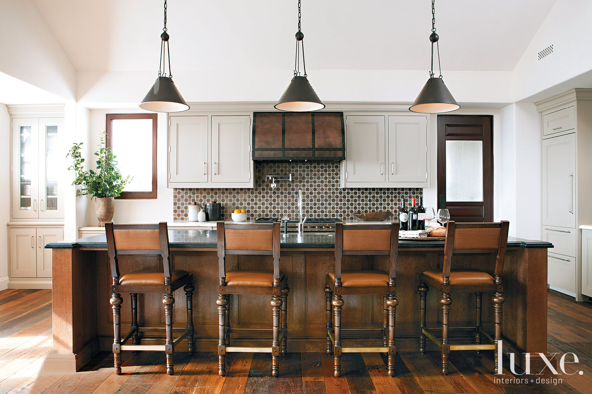 Transitional White Kitchen with Mahogany Barstools