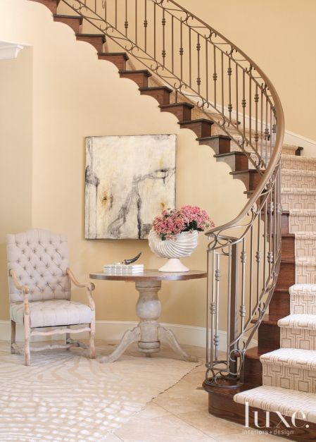Cream Transitional French Style Foyer Staircase Luxe