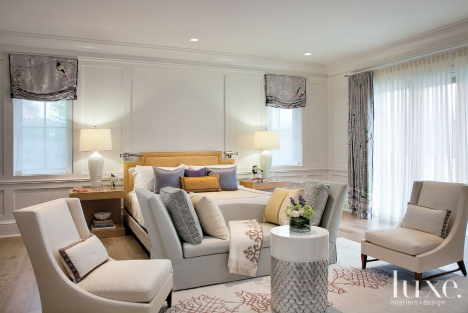 Transitional white master bedroom with millwork luxe for White master bedroom furniture