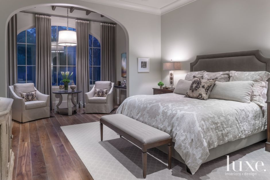 Transitional gray master bedroom with sitting alcove luxesource luxe magazine the luxury Master bedroom corner decor