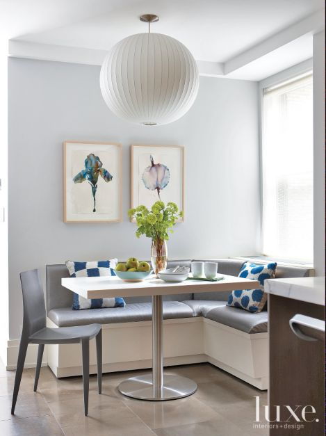 Modern Gray Breakfast Nook With Blue Accents Luxe Interiors Design