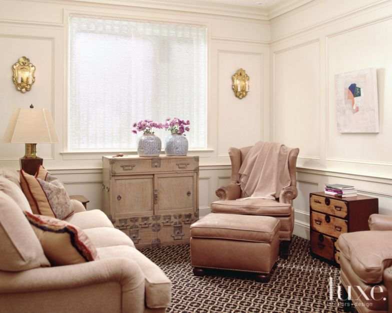 Neutral Traditional Sitting Room Luxe Interiors Design