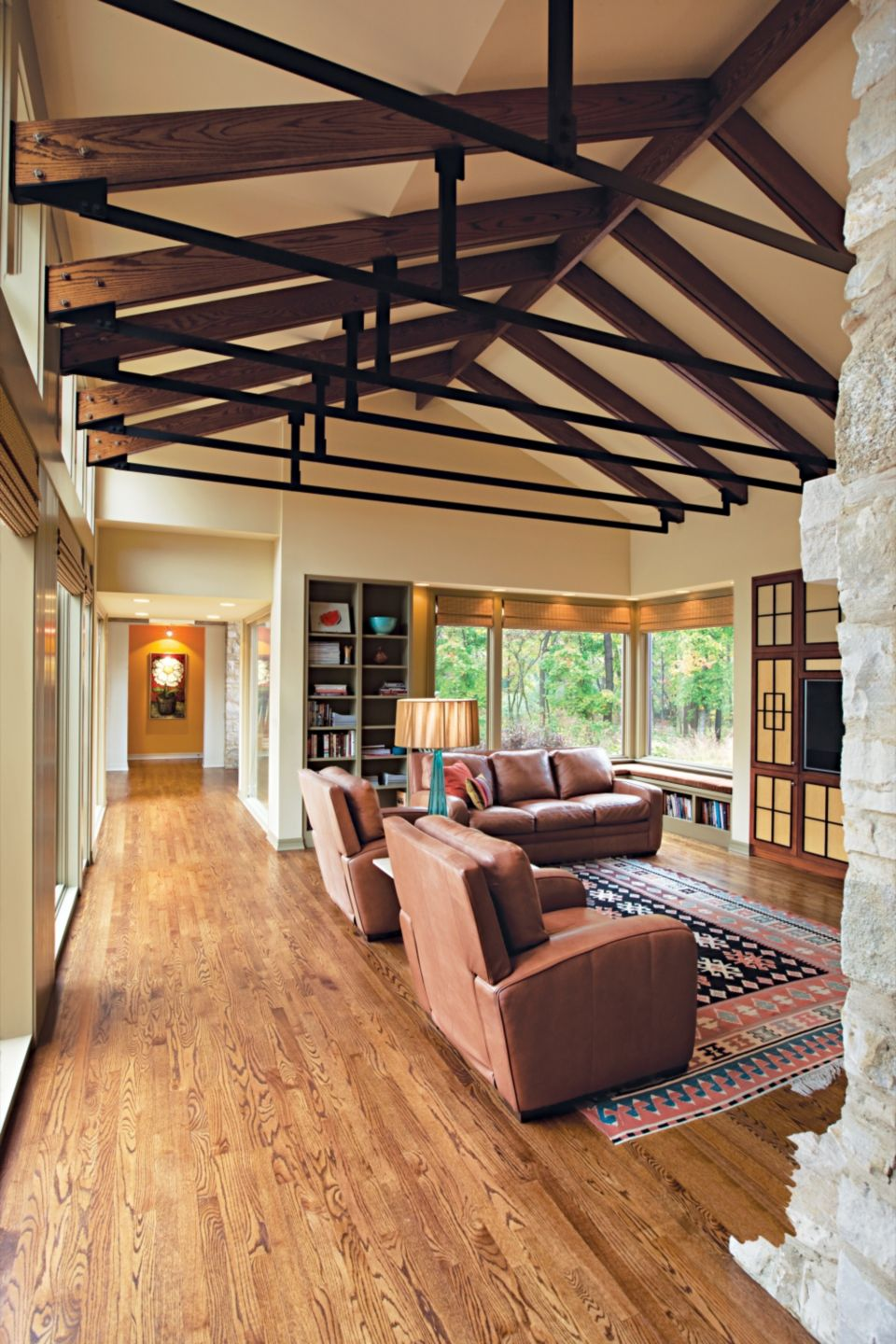 Country Cream Living Room with White Oak Trusses