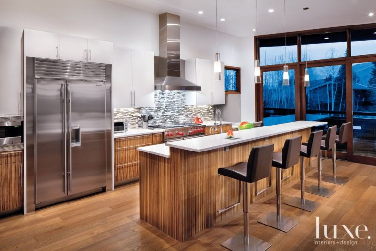 Modern Kitchen With Zebrawood Cabinetry - Luxe Interiors + Design