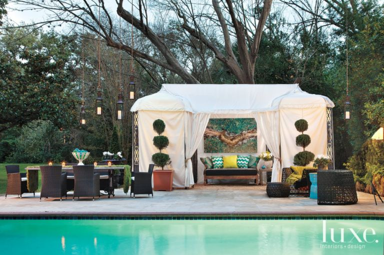 Mediterranean Outdoor Pool Pavilion with Neutral Draped Pergola ...