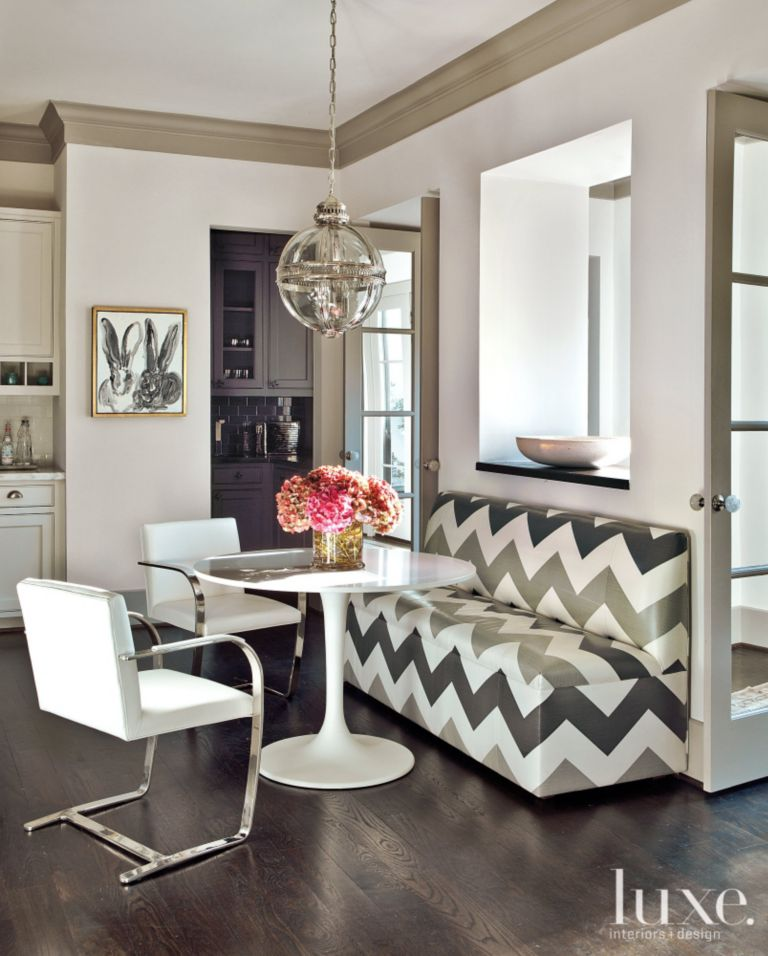 French-Revival Breakfast Nook - Luxe Interiors + Design on second empire house design, art deco house design, american foursquare house design, italian villa house design, prairie house design,
