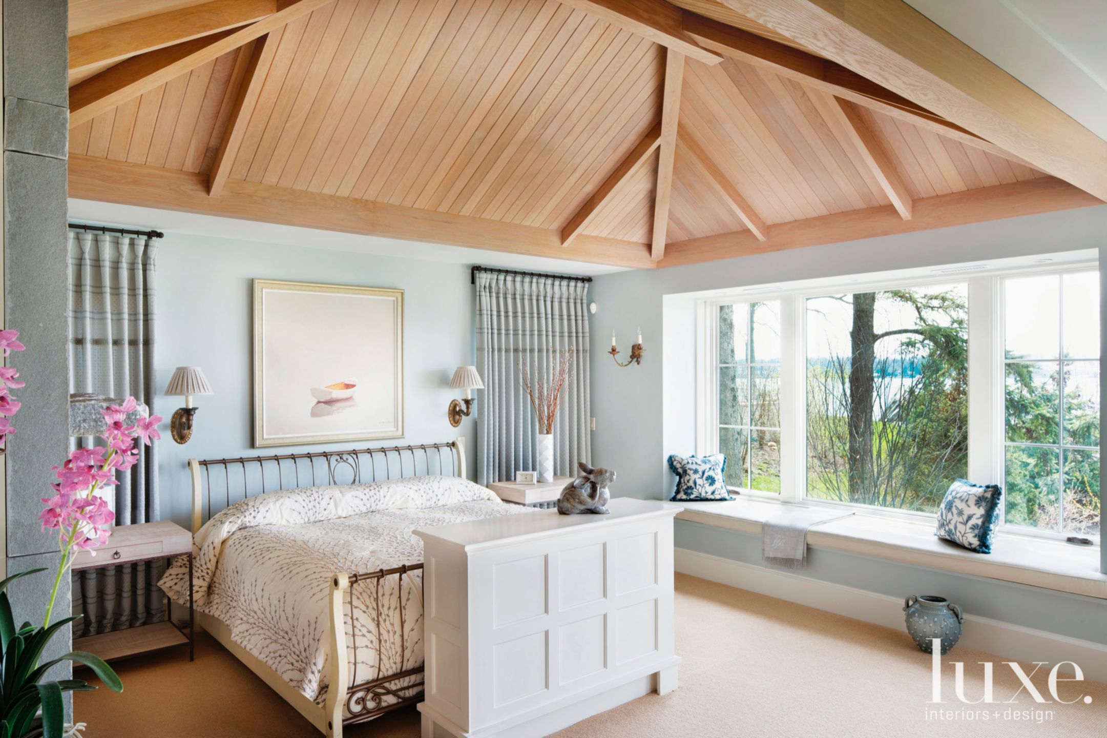 Contemporary Blue Bedroom with Lofted Oak Ceiling | Luxe ...