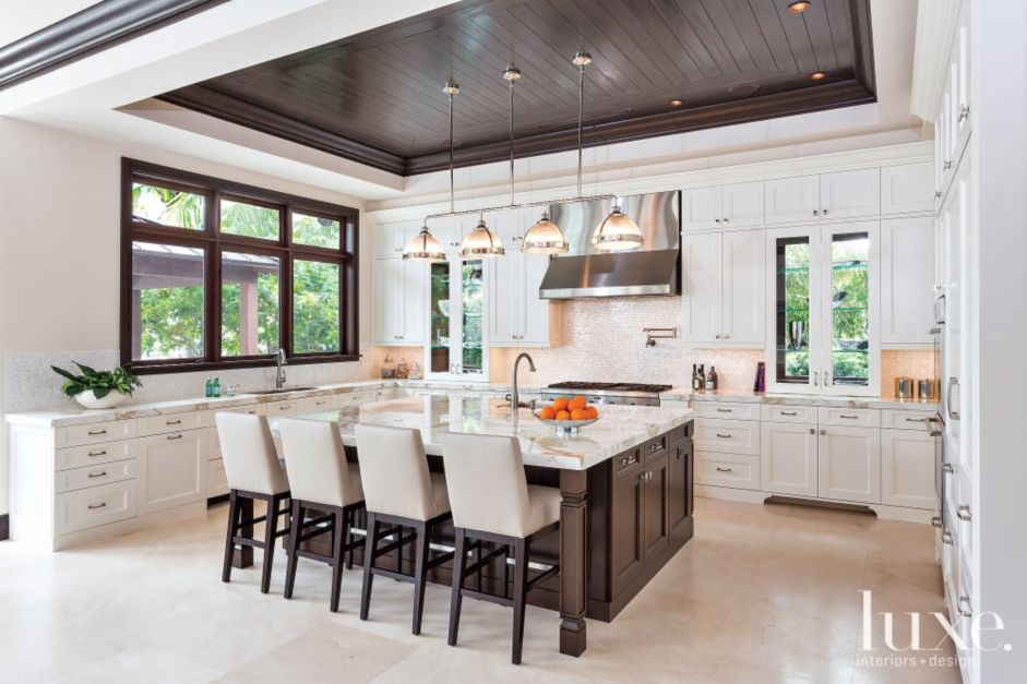 Transitional Mahogany Amp White Kitchen Luxe Interiors Design