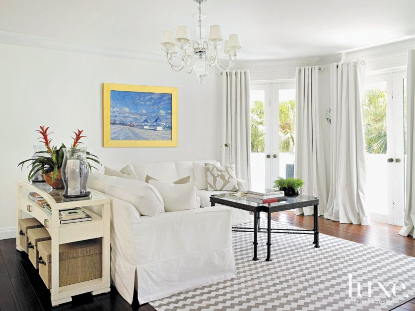 Contemporary White Master Bedroom Sitting Area Luxe