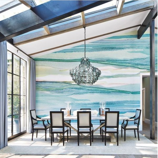 Blue Watercolor Wallpaper Dining Room Delight