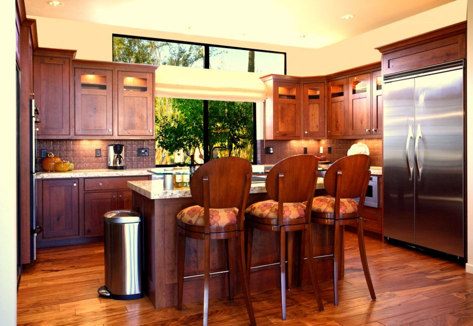 In Small Custom Kitchen Rustic Cherry Cabinets With Copper