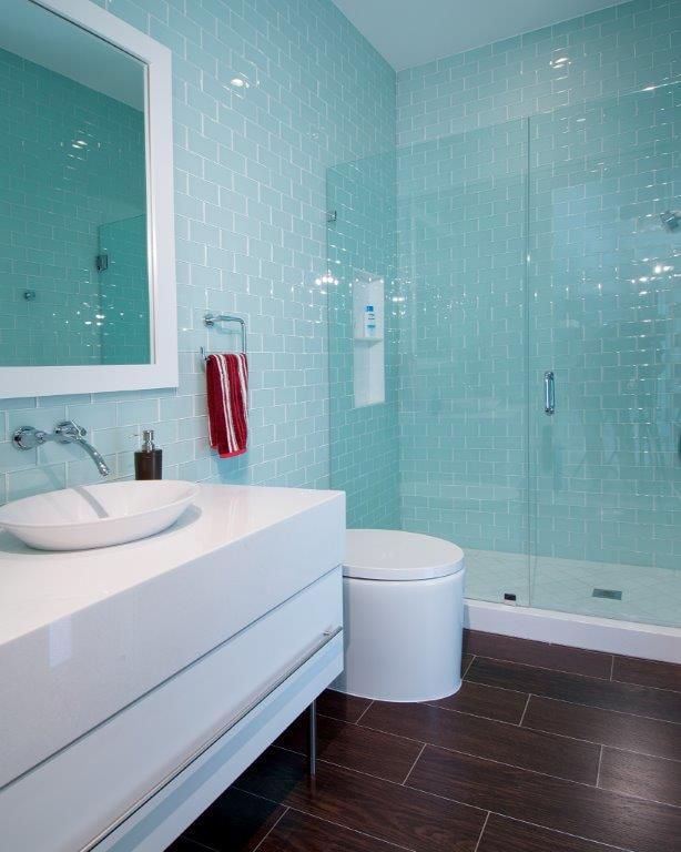 Thassos Marble Counter Top White Glass Subway Tile Shower Walls And