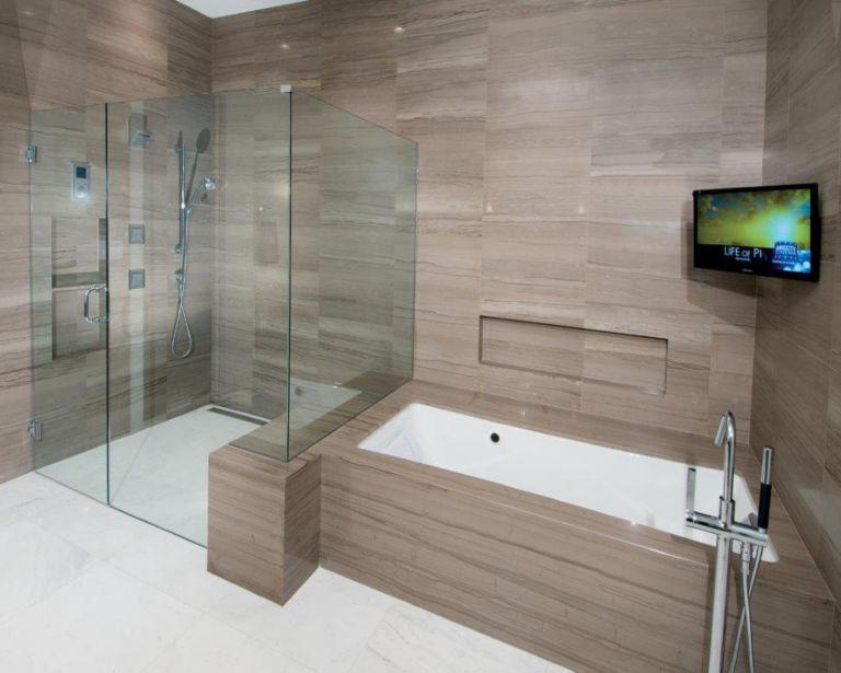 Bamboo marble shower, tub walls and tub skirt. White Himalaya marble ...