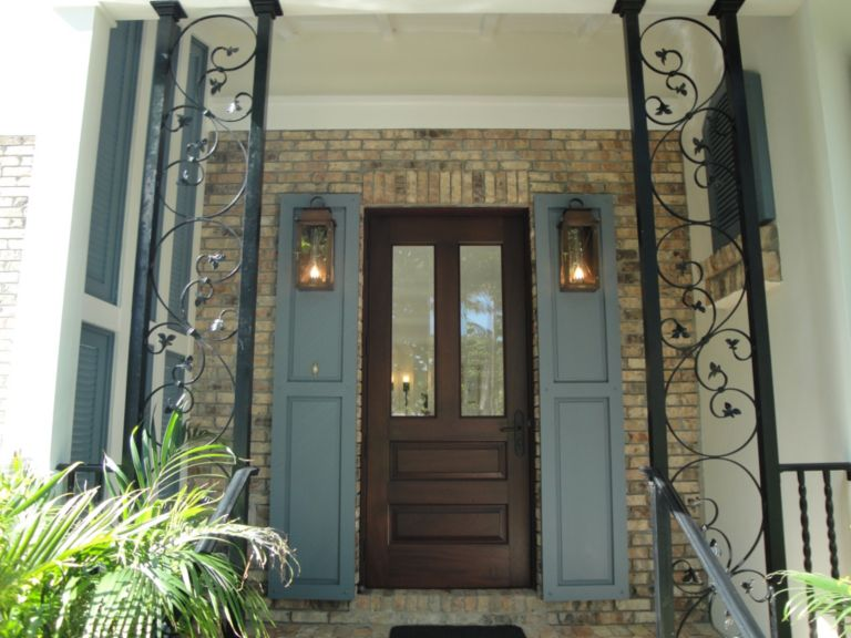 Mahogany front door with beveled glass, Chicago brick exterior wall ...