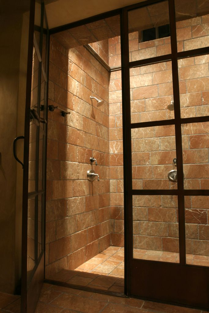 Spanish Colonial influenced Master Bath walk-in shower with ...