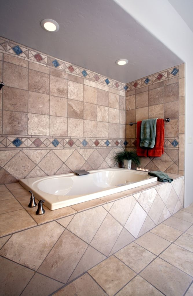 Traditional Master Bath two-person jetted tub with heat lambs and ...