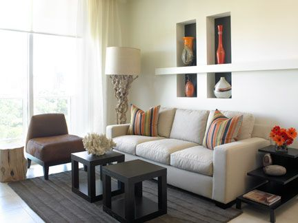 Miami contemporary earth tone living room neutral colors accented by espresso wood tones and a - Stylish modern dining sets for neutral toned interior ...