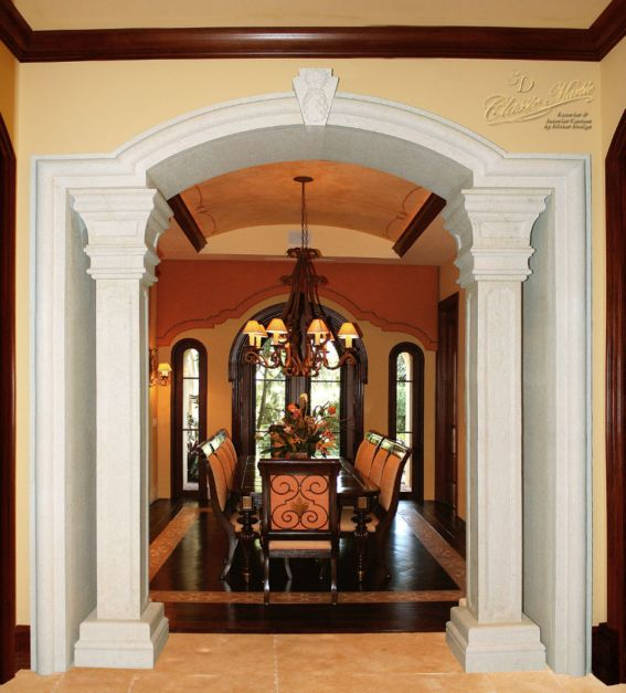 The dining room entrance is encased in gorgeous marble for Dining room entrance