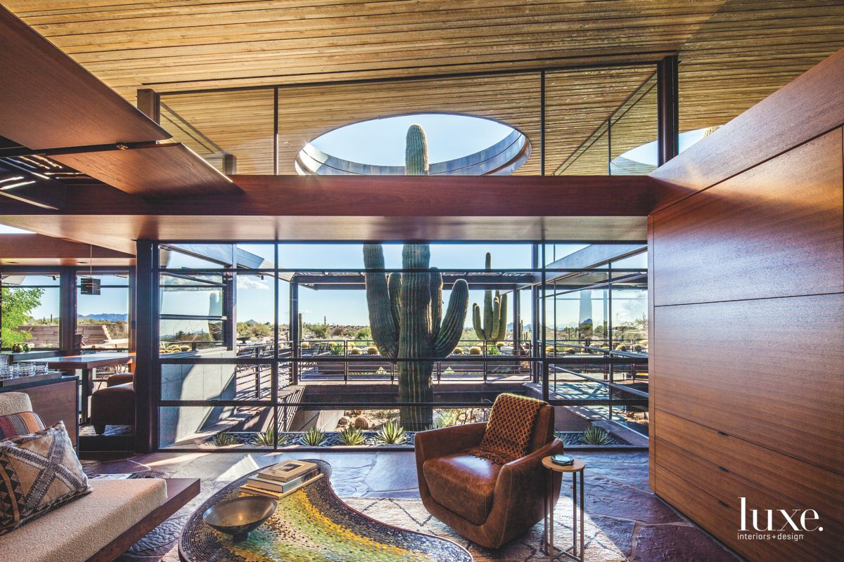 Family Room with Leather Armchair and Cactus
