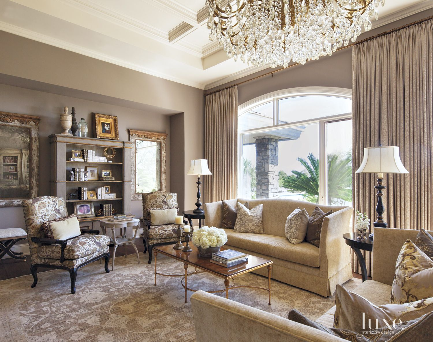 Traditional Gray Living Room with Antique Mirrors