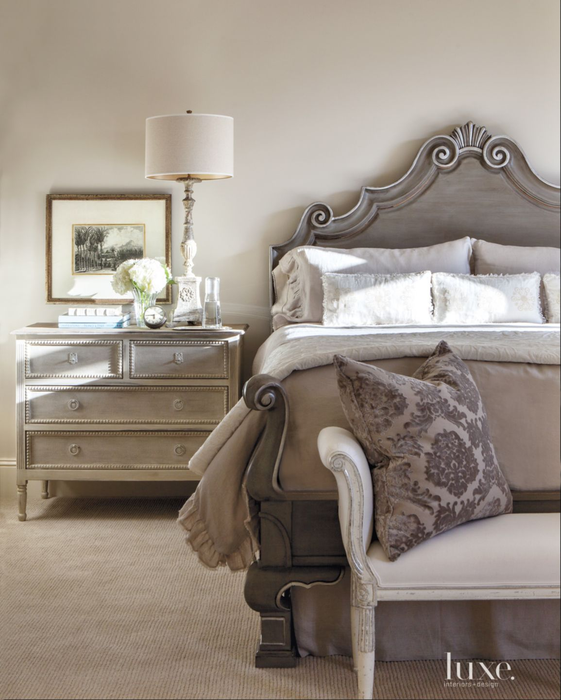 Traditional White Bedroom with Silver-Leaf Bed