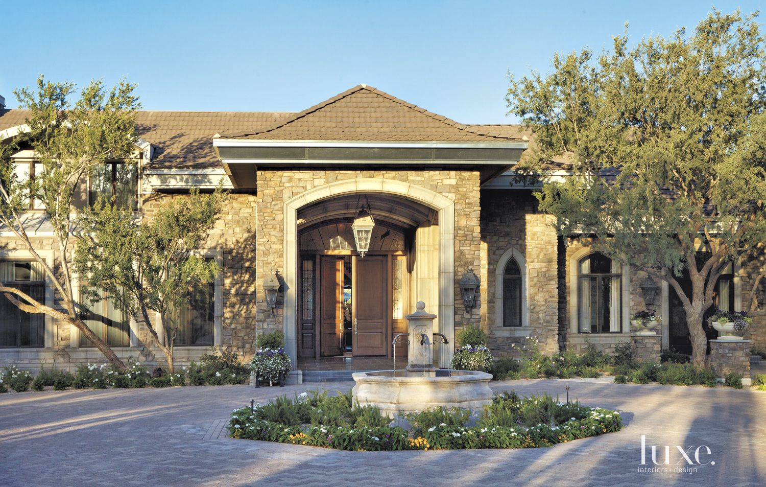 Transitional Neutral Front Elevation with Fountain