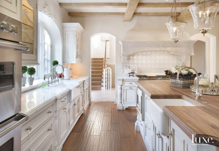 Iroko wood block island in white kitchen luxe interiors for White rustic kitchen designs