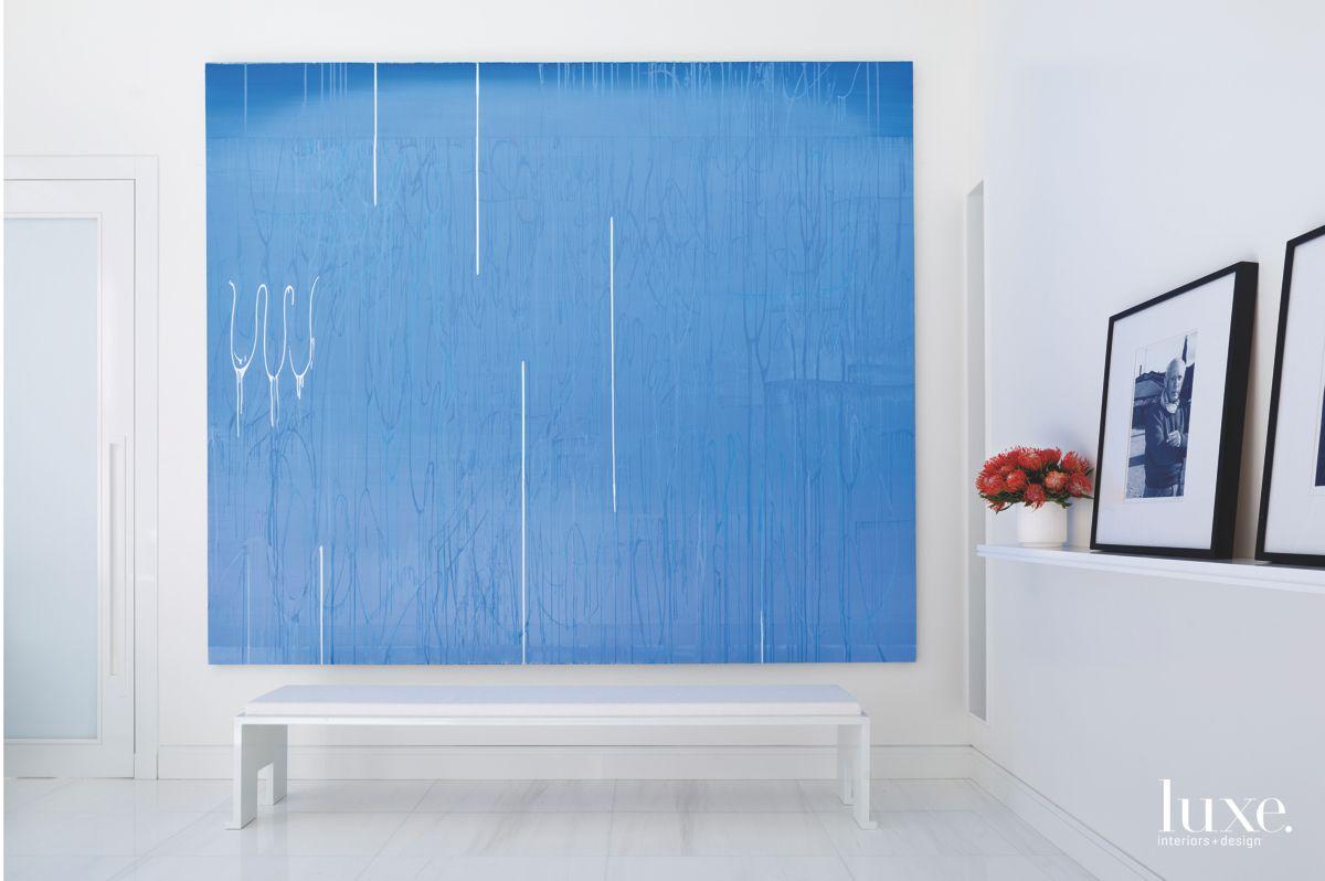 Calming Blue Abstract Artwork Master Bedroom