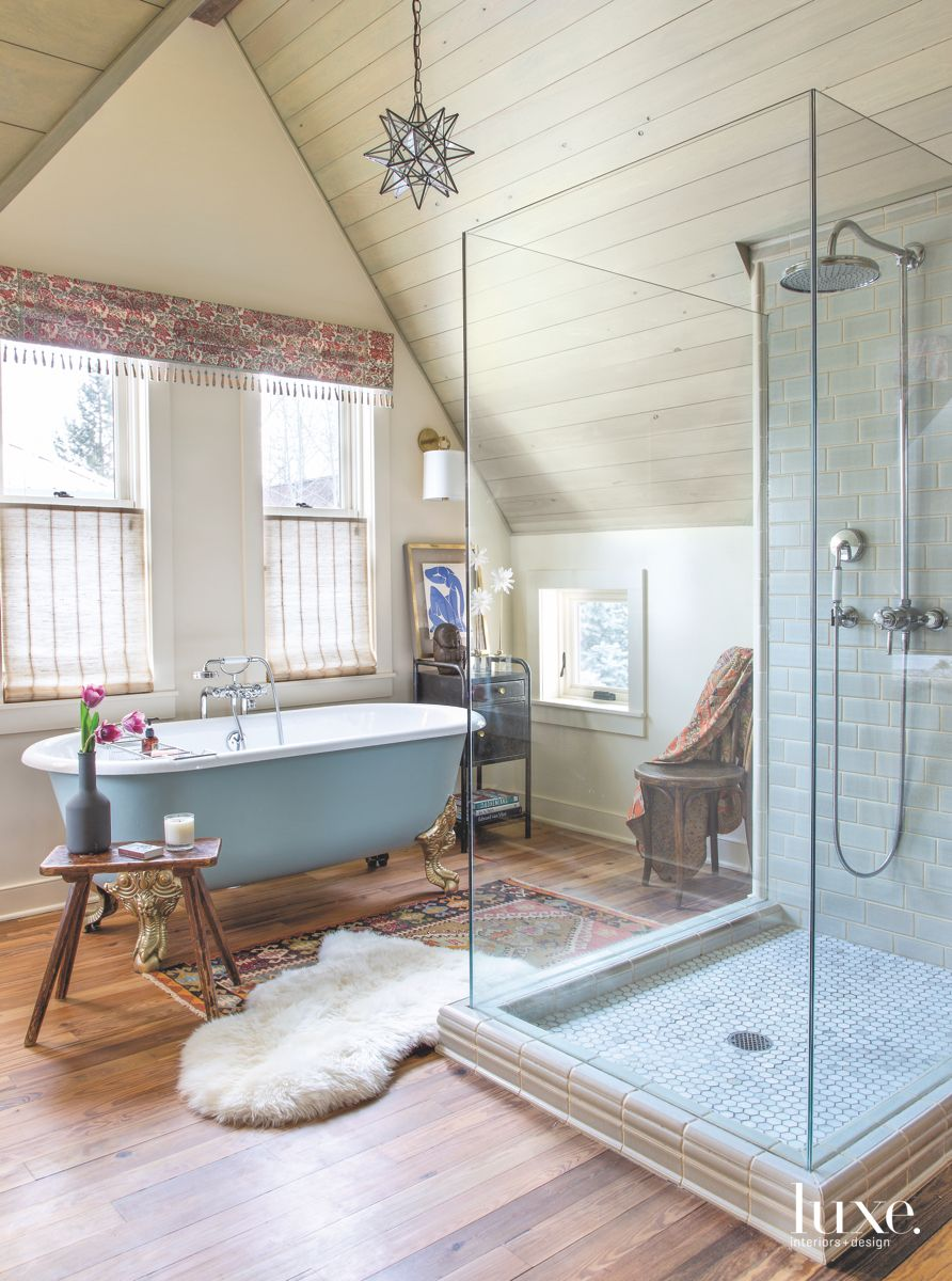 Incredible Master Bathroom with Wood, Glass, and Fur Features