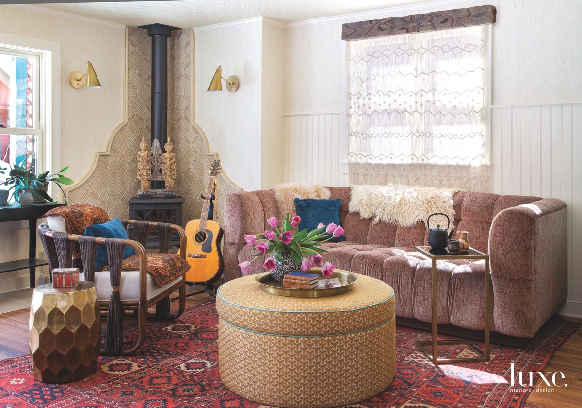Bohemian Chic Living Room with Guitar